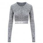 Grey Unique Long-Sleeve Crop