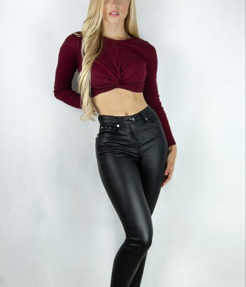 High Waisted Leather Look Trousers