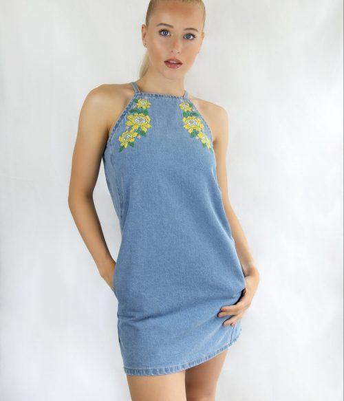 Relaxed Cut Floral Denim Dress
