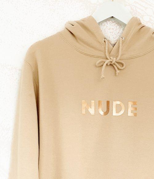 Copper Printed Nude Hoodie