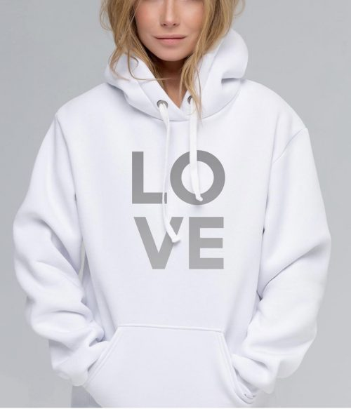 LOVE Relaxed Hoody Silver