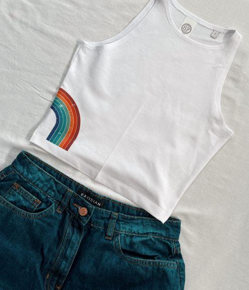 Worn Rainbow Cropped Vest