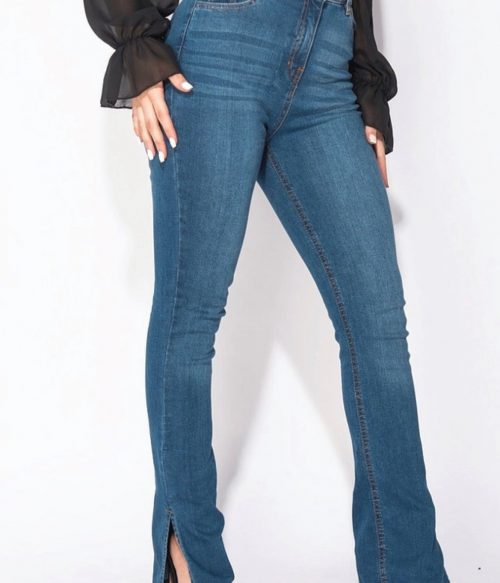 Side Slit Detail High Waist Flared Jeans