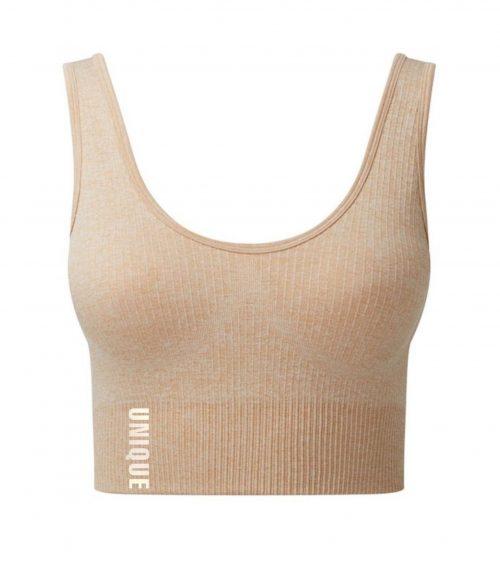 Nude Ribbed Seamless Sport Bra