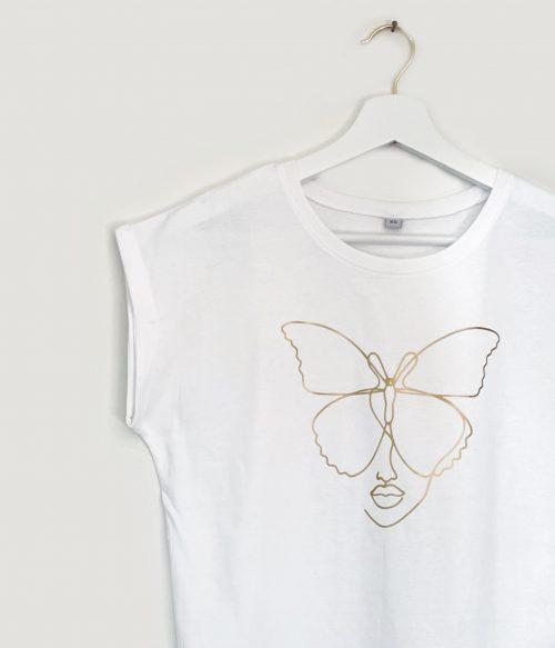 Golden Butterfly Extended Shoulder T